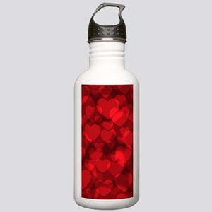 Red Heart Bokeh Water Bottle