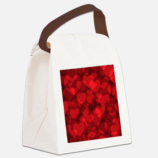 Red Heart Bokeh Canvas Lunch Bag