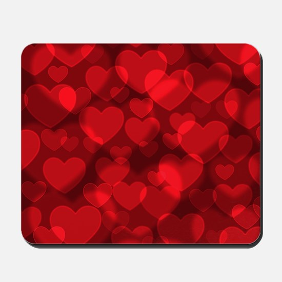 Red Heart Bokeh Mousepad