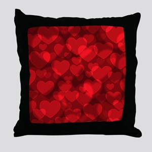 Red Heart Bokeh Throw Pillow