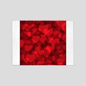 Red Heart Bokeh 5'x7'Area Rug