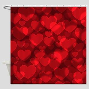 Red Heart Bokeh Shower Curtain