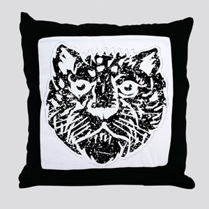 Distressed Leopard Face Silhouette Throw Pillow