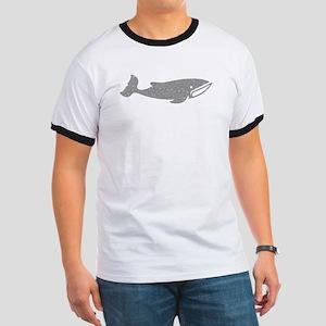 Distressed Grey Cartoon Whale T-Shirt