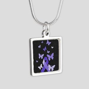 Purple Awareness Ribbon Necklaces