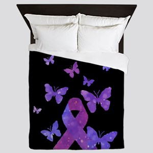 Purple Awareness Ribbon Queen Duvet