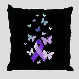 Purple Awareness Ribbon Throw Pillow