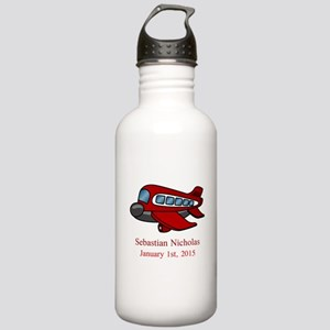 CUSTOM Airplane with Baby Name Date Water Bottle