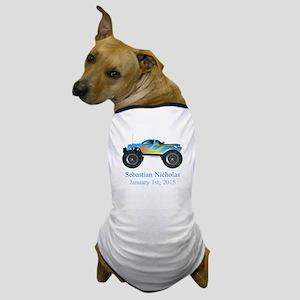 CUSTOM Monster Truck w/Baby Name Date Dog T-Shirt