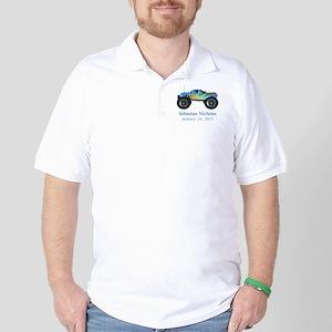 CUSTOM Monster Truck w/Baby Name Date Golf Shirt