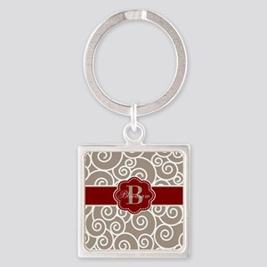 Beige Red Swirl Personalized Keychains