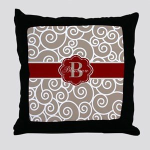 Beige Red Swirl Personalized Throw Pillow