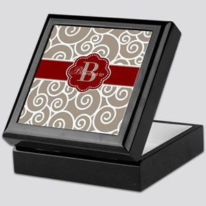 Beige Red Swirl Personalized Keepsake Box