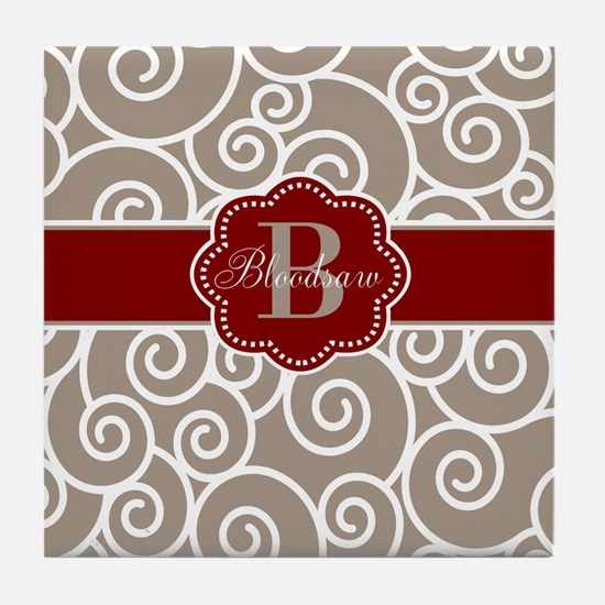 Beige Red Swirl Personalized Tile Coaster