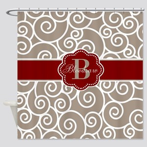 Beige Red Swirl Personalized Shower Curtain
