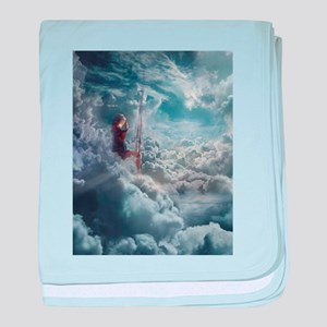 Aerialist Sitting in Clouds baby blanket