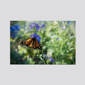 Monarch Butterfly on Flowers Rectangle Magnet
