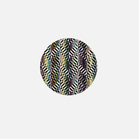 Rainbow Zebra Chevron Mini Button