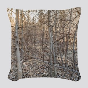 Leafless Forest at Sunset Woven Throw Pillow