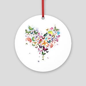 Heart of Butterflies Ornament (Round)