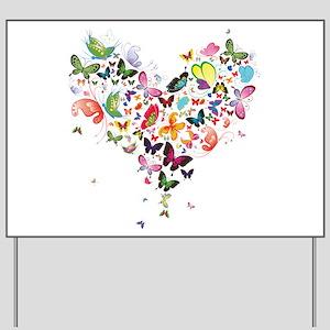 Heart of Butterflies Yard Sign