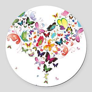 Heart of Butterflies Round Car Magnet