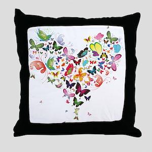 Heart of Butterflies Throw Pillow