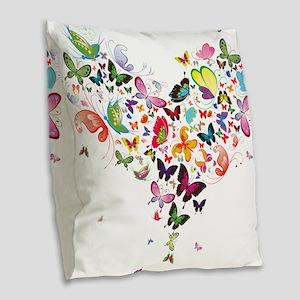 Heart of Butterflies Burlap Throw Pillow