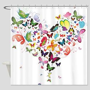 Heart Of Butterflies Shower Curtain
