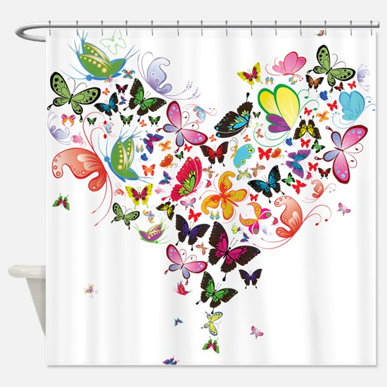 Heart of Butterflies Shower Curtain