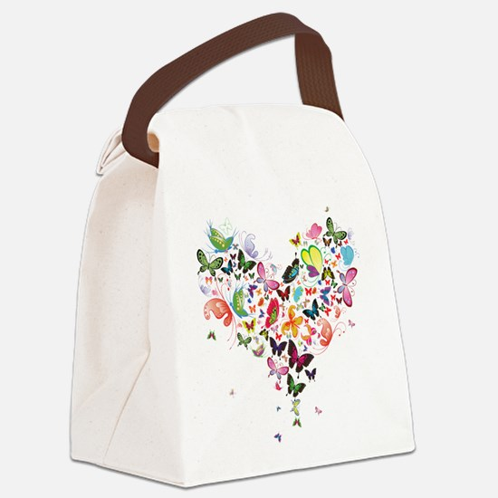 Heart of Butterflies Canvas Lunch Bag