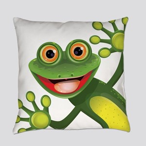 Happy Green Frog Everyday Pillow