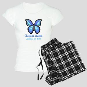 CUSTOM Blue Butterfly w/Baby Name Date Pajamas