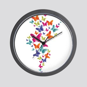 Multi Color Flying Butterflies Wall Clock