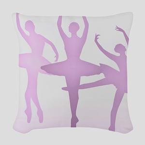 Pink Dancing Ballerinas Woven Throw Pillow