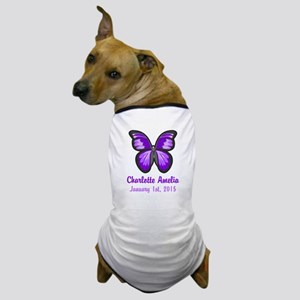 CUSTOM Purple Butterfly w/Baby Name Date Dog T-Shi