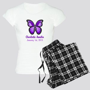 CUSTOM Purple Butterfly w/Baby Name Date Pajamas