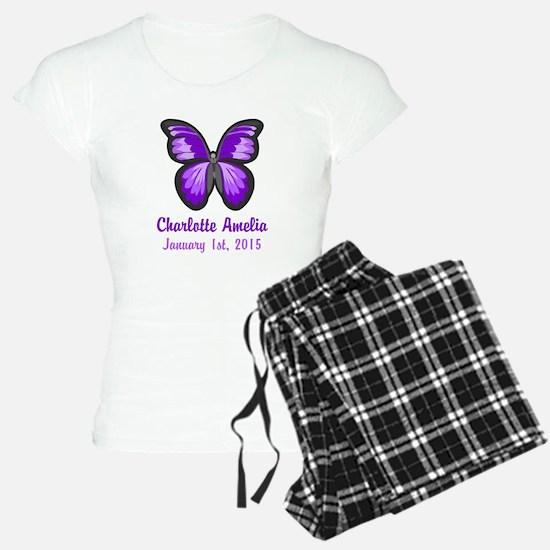 CUSTOM Purple Butterfly w/Baby Name Date Pajamas