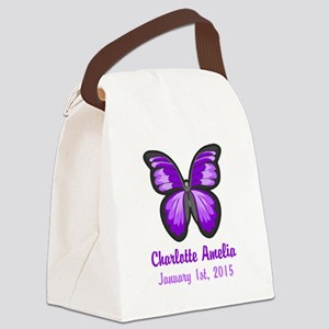 CUSTOM Purple Butterfly w/Baby Name Date Canvas Lu