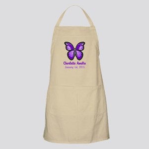 CUSTOM Purple Butterfly w/Baby Name Date Apron