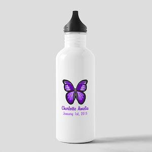CUSTOM Purple Butterfly w/Baby Name Date Water Bot