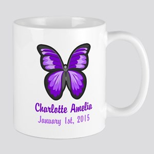 CUSTOM Purple Butterfly w/Baby Name Date Mugs
