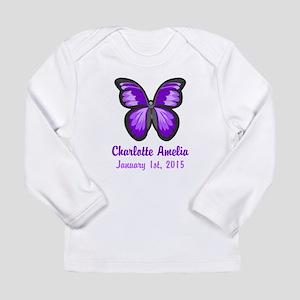 CUSTOM Purple Butterfly w/Baby Name Date Long Slee