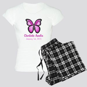 CUSTOM Pink Butterfly w/Baby Name Date Pajamas