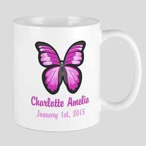 CUSTOM Pink Butterfly w/Baby Name Date Mugs
