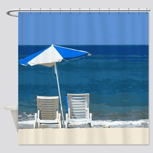 Beach Chairs and Umbrella Shower Curtain
