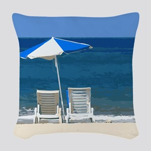 Beach Chairs and Umbrella Woven Throw Pillow