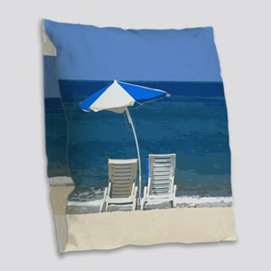 Beach Chairs and Umbrella Burlap Throw Pillow