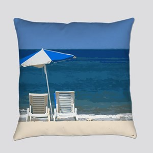 Beach Chairs and Umbrella Everyday Pillow
