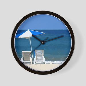 Beach Chairs and Umbrella Wall Clock